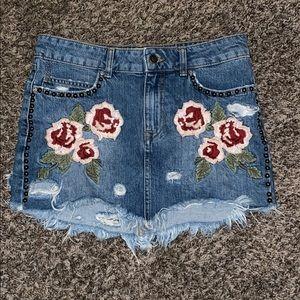 Free People Floral Embroidered Denim Mini Skirt